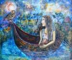 Dreamscape  Original artwork by Cheryle Bannon Mixed media acrylic collage on canvas.