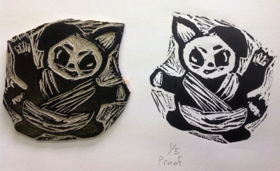Shruthi - lino-cut stamp and print for Shifu's daughter.