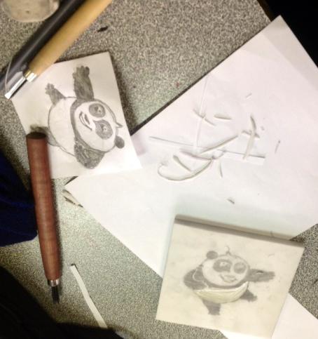 Snehithaa -baby Kung Fu Panda design and lino-cut
