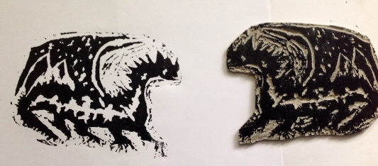 Devesh print and lino block dragon carving