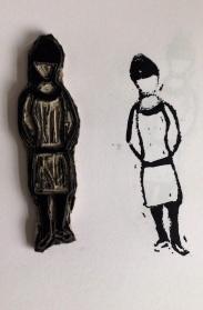 Mirella girl stamp and lino block.