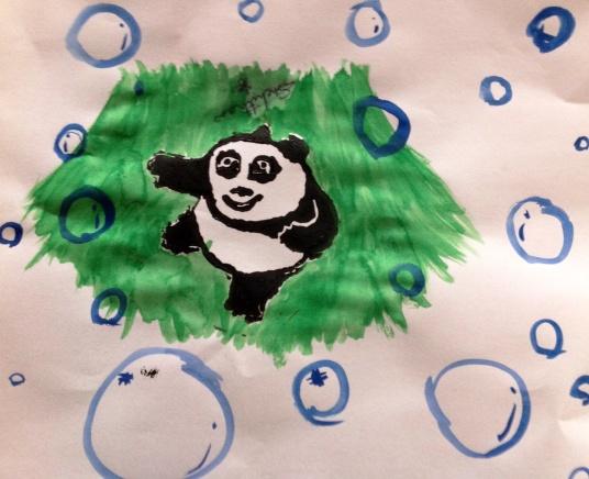 Baby Kung Fu panda watercolour background.