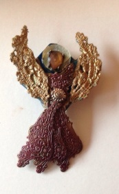 Lace Angel , original mixed media brooch created by Cheryle Bannon©