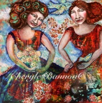 'Holding Gently', An original mixed media collage on canvas by Cheryle Bannon©, 61 x 61 cm. Price: $695