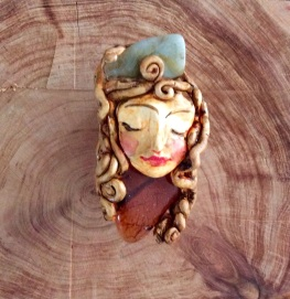 'Spiral dreams' , polymer clay brooch with crystals. 7 cm x 3.5cm