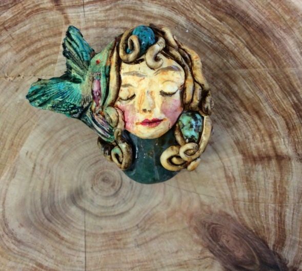'Listening',, polymer clay brooch with crystals. 7 cm x 3.5cm