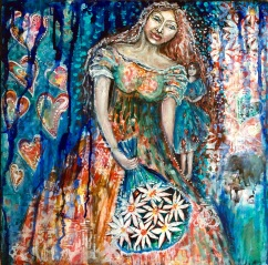 'The Queen of Hearts' an original mixed media acrylic on canvas by Cheryle Bannon©. 51 x 51 cm Price: $575