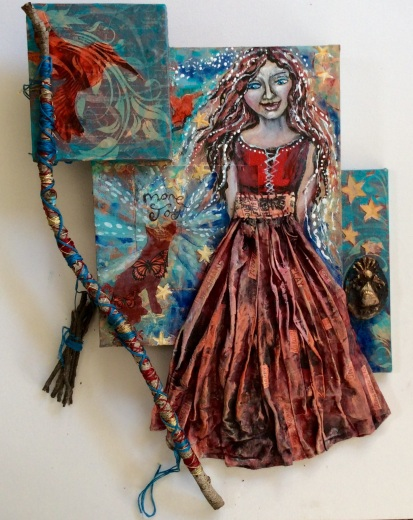 The Gatherer. A mixed media acrylic painting on canvas and wood panels by Cheryle Bannon© 55 x37 cm. Price: $500
