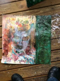 I can see an image of a forest nymph and antlers forming in this pallet painting.