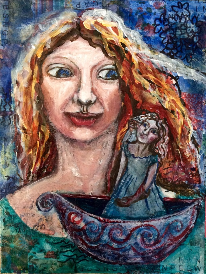 Love the symbol of the boat and girl as journey. An earlier piece but on my completion list.
