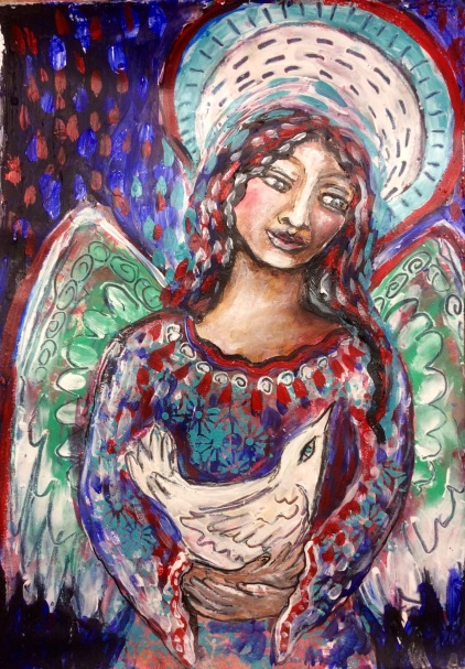 A playful angel exploration. Angel dreaming. An originalL mixed media painting on A3 watercolor paperby Cheryle Bannon© For sale: $200