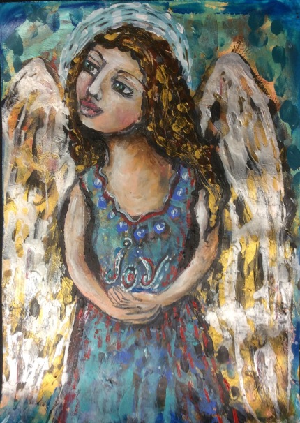 Angel Joy. An originalL mixed media painting on A3 watercolor paperby Cheryle Bannon© For sale: $200