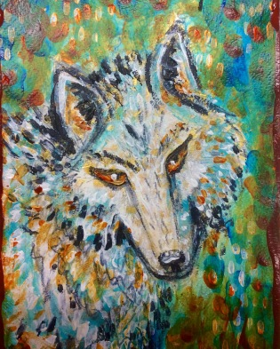 White wolf companion. An original painting on A5 water color pare by Cheryle Bannon©