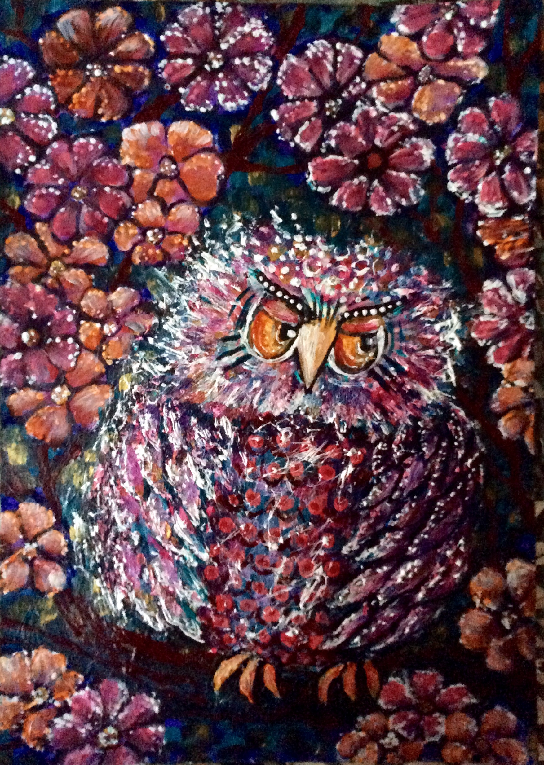 Gramma owl and flowers